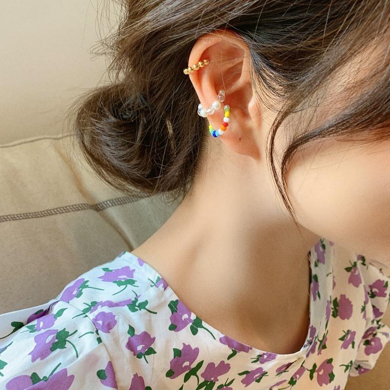 colorful beads ear cuff(3set)