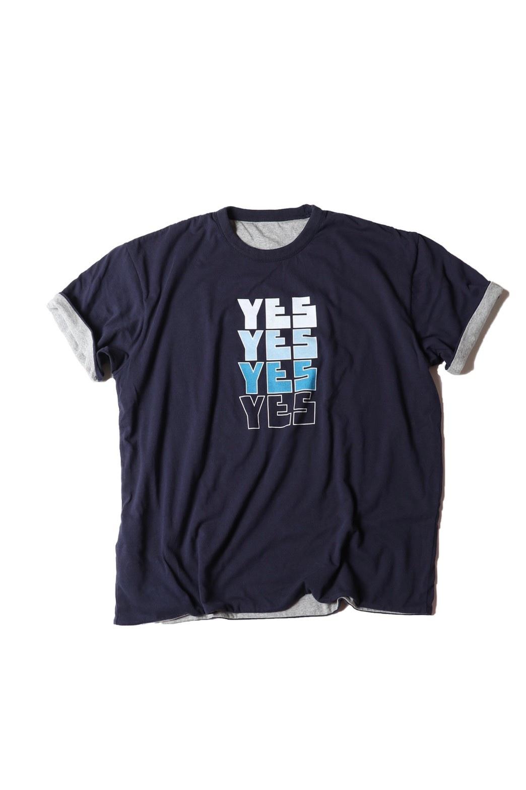 "Reversible Tshirt ""YES NO"" / navy×grey"