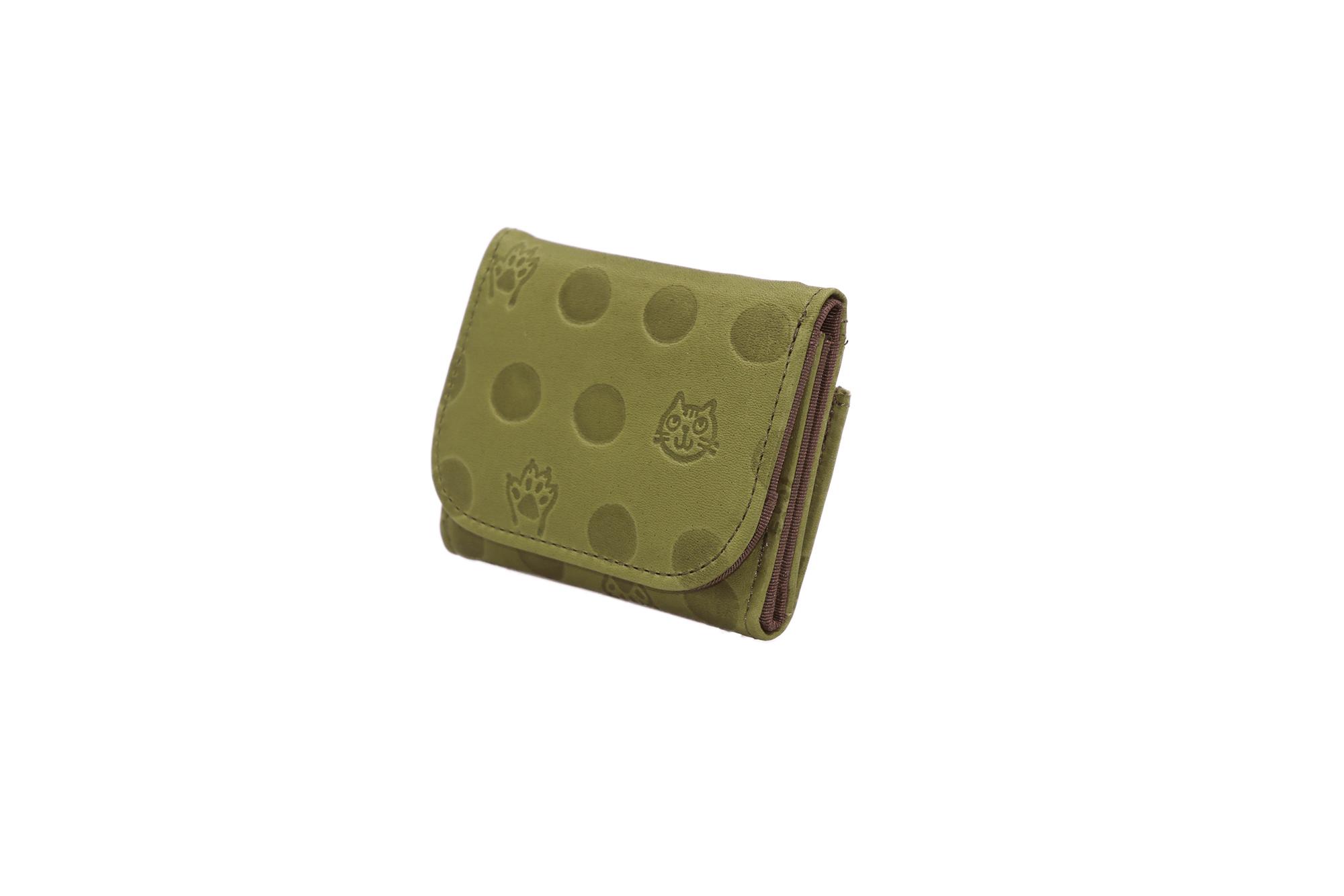 Atelier Kyoto Nishijin/ねこと肉球の型押しが可愛い・牛革・手乗りコンパクト財布・鶯色(うぐいすいろ)・日本製