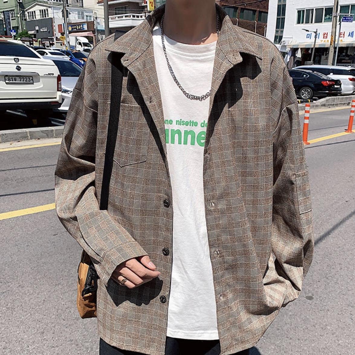 カジュアルチェックトップインジャケット ブルゾン 韓国風
