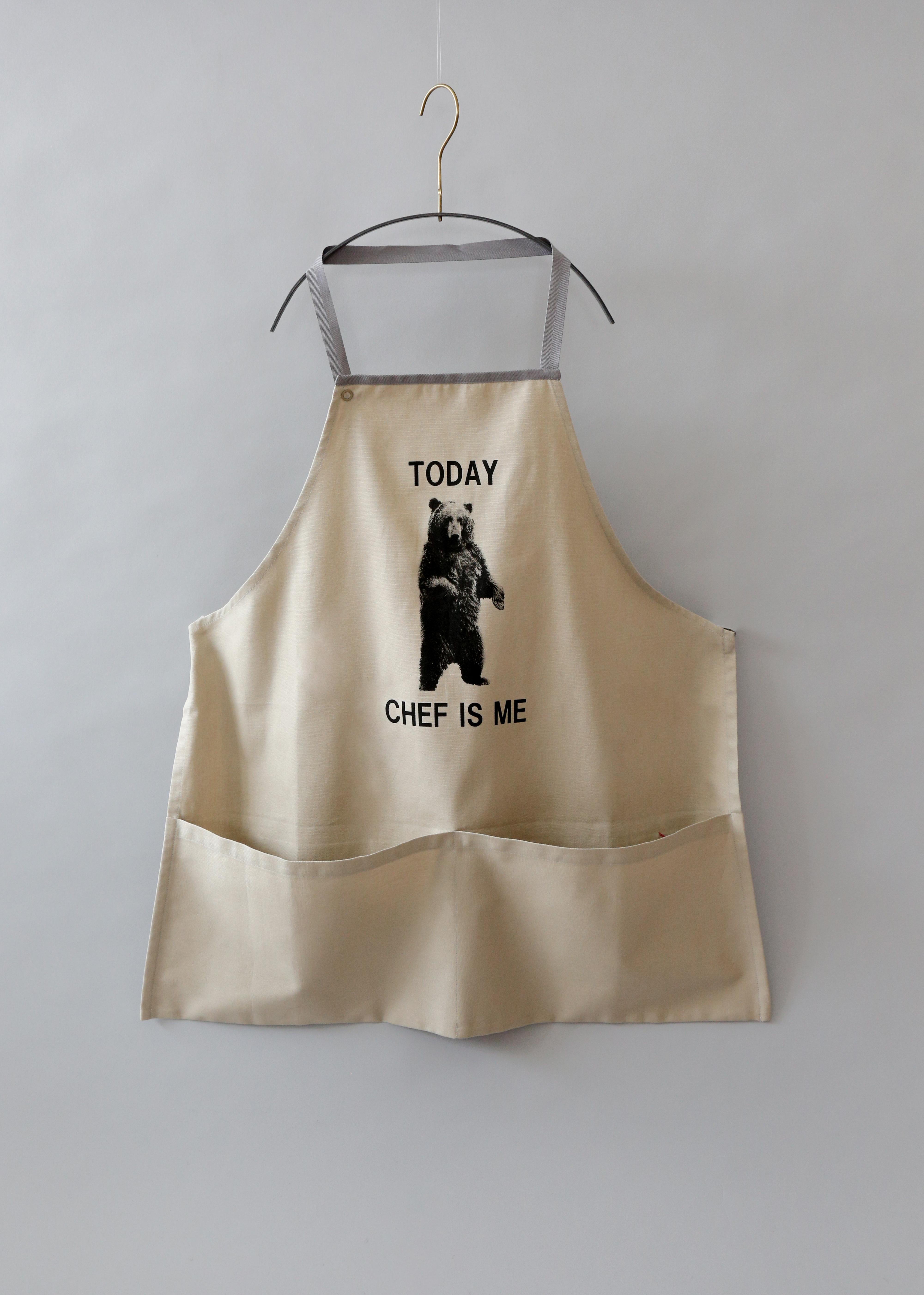 《michirico》Bear apron / beige