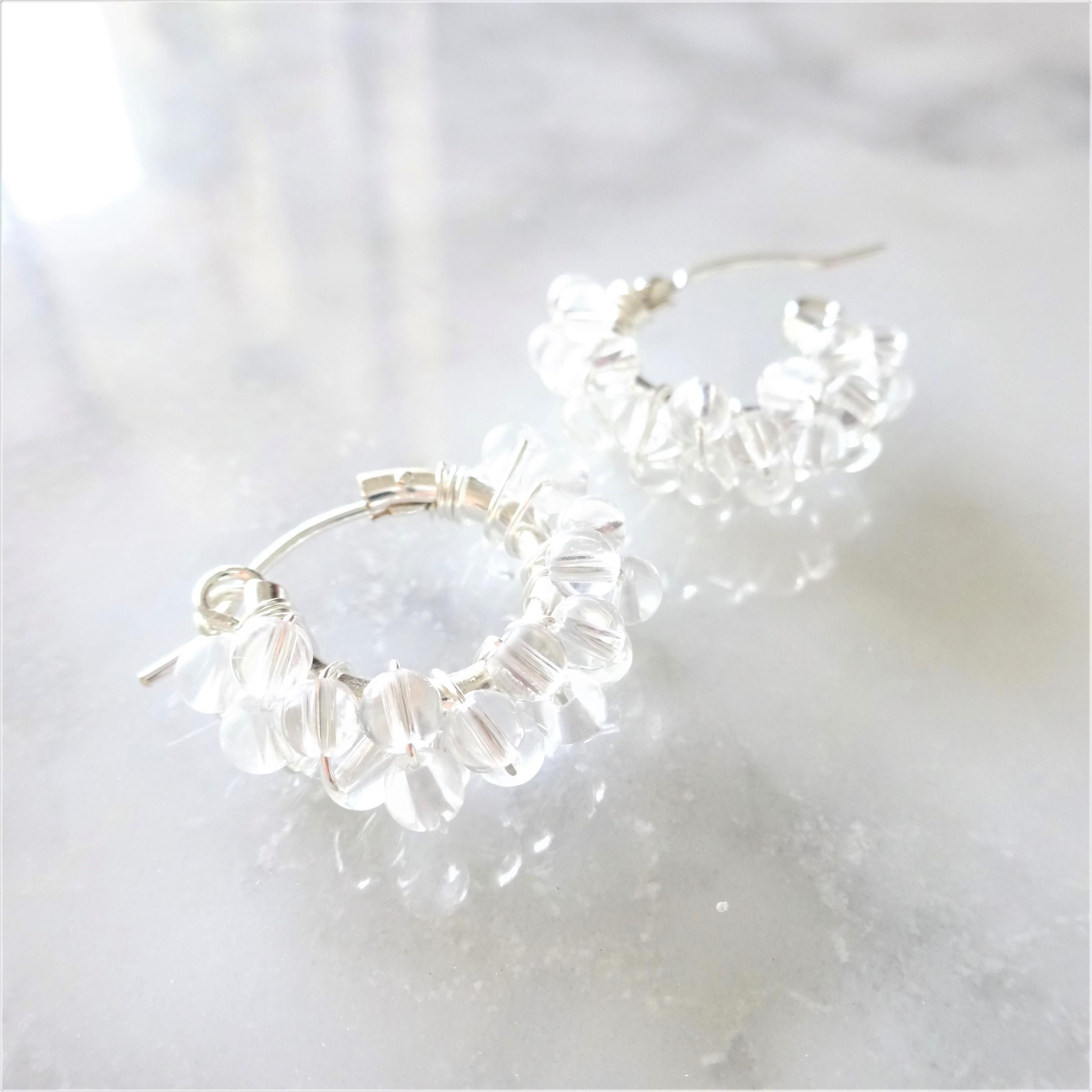 SV925SF*Crystal Quartz wrapped pierced earring