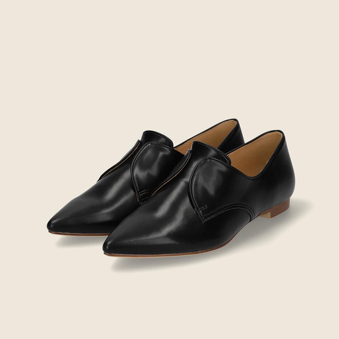 【一部難あり】ポインテッドトゥ ノーレース  ドレスシューズ:ブラック 24.5cm(OT1277)