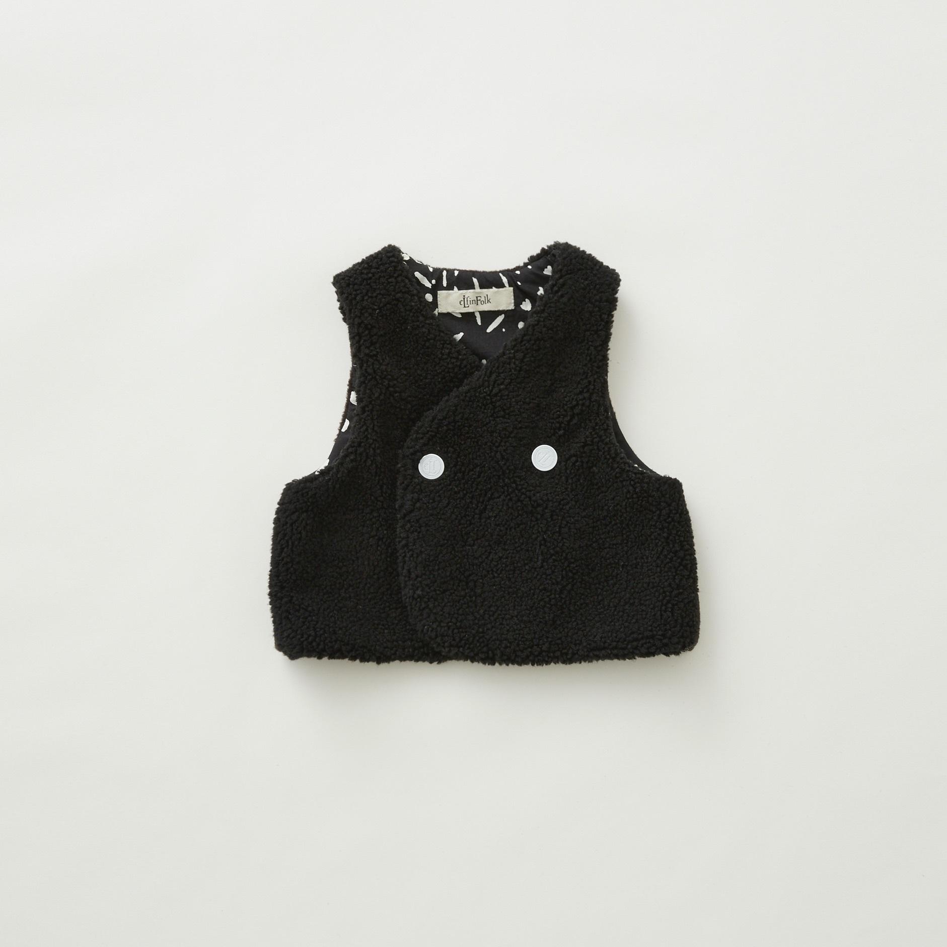 《eLfinFolk 2021AW》Sheep boa  baby vest / black