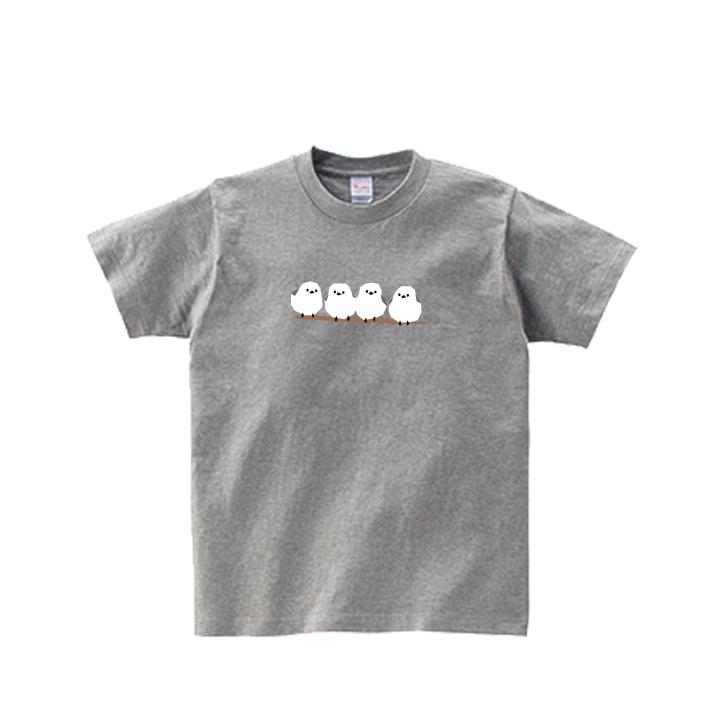 動物Tシャツ-シマエナガ(杢グレー)