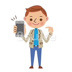 イラスト素材:スマートフォンを持つ男性(ベクター・JPG)