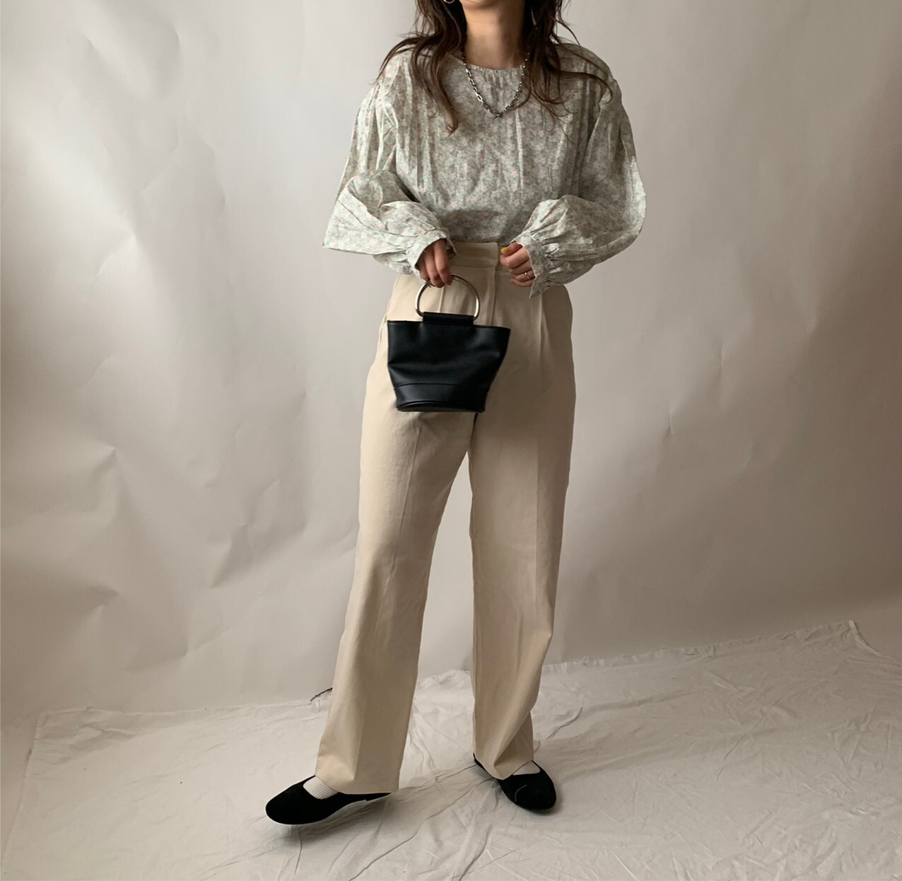 【asyu】mint puff sleeve  blouse