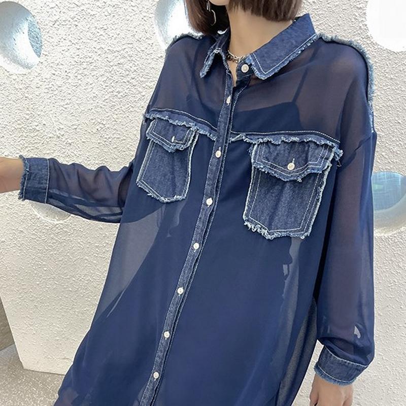 ロングシアーシャツ   1-054