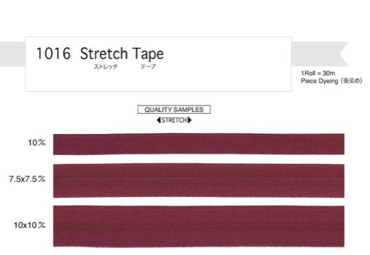 リュックのサイドの伸びるポケット用に ストレッチ ゴム テープ 20mm幅(10mm上がり) 黒 30m巻