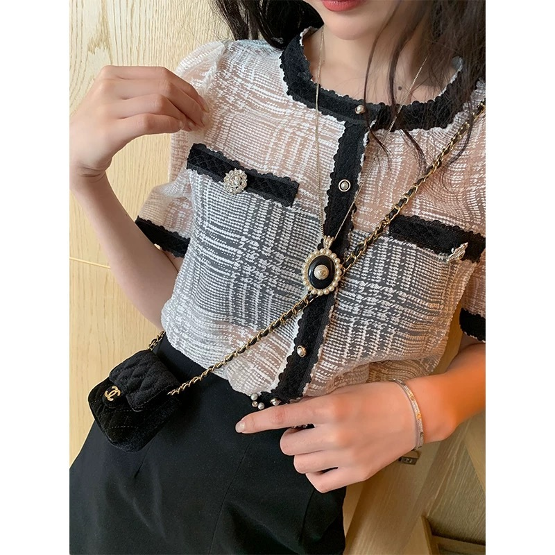 mesh check shirt