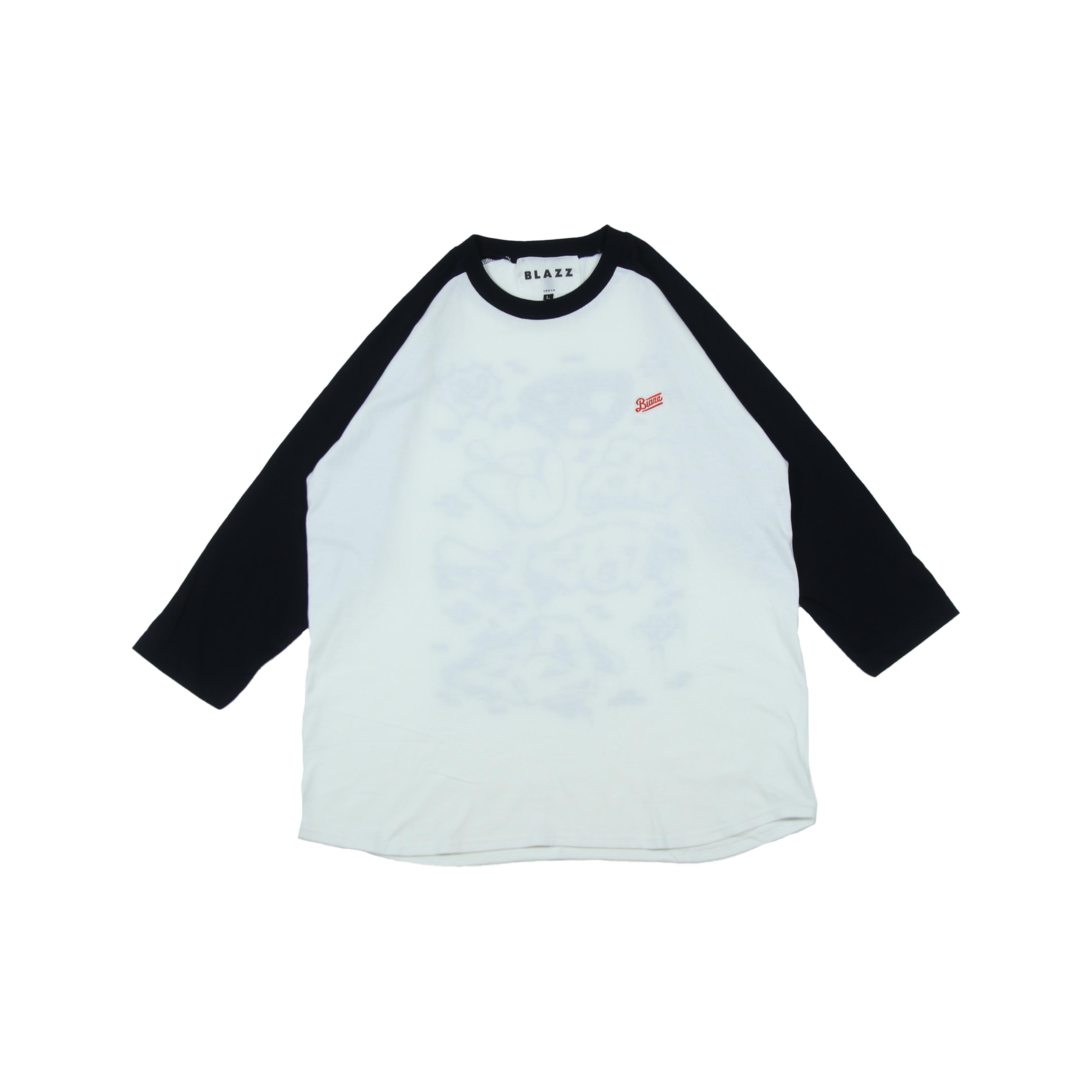 6th Wall by ATOMONE raglan 3/4 sleeve [ WHITE x NAVY ]