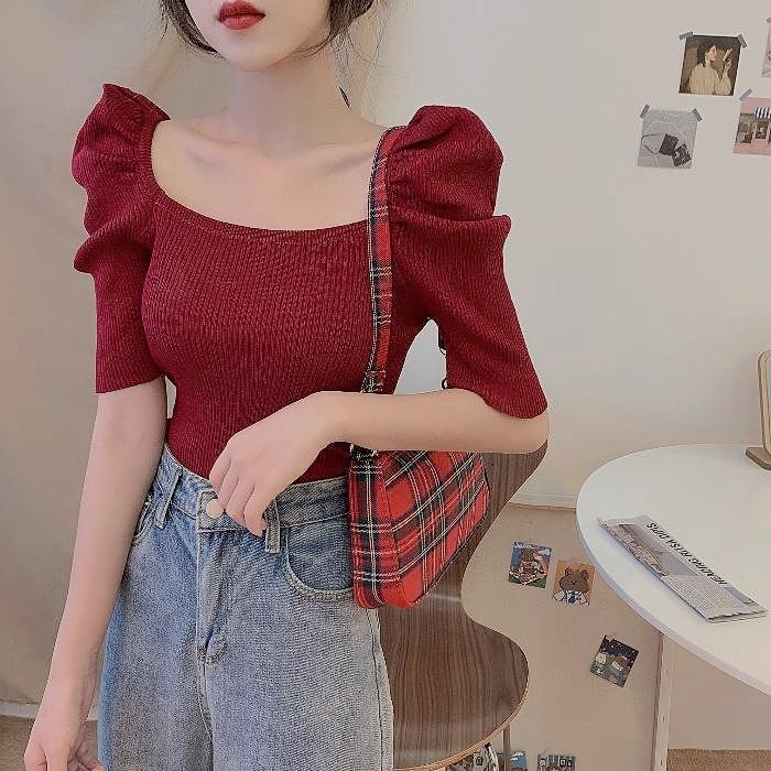 simple puff sleeveT 6color