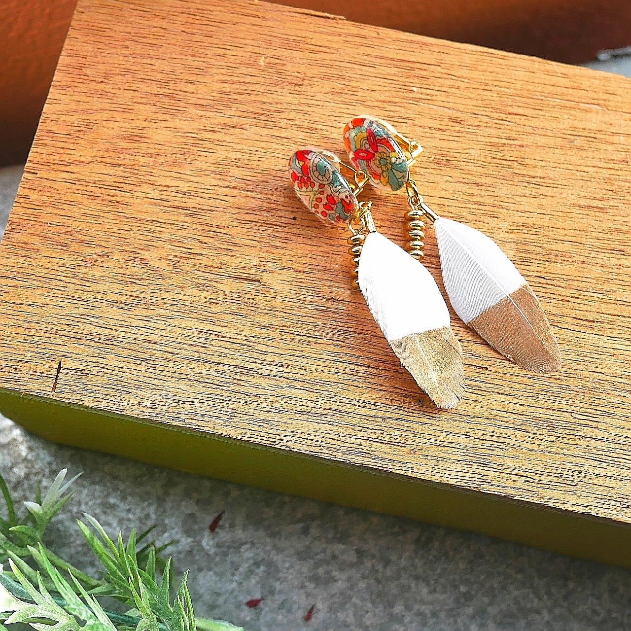 """"""" Earrings NO.0-1936″リバティフェザー"""