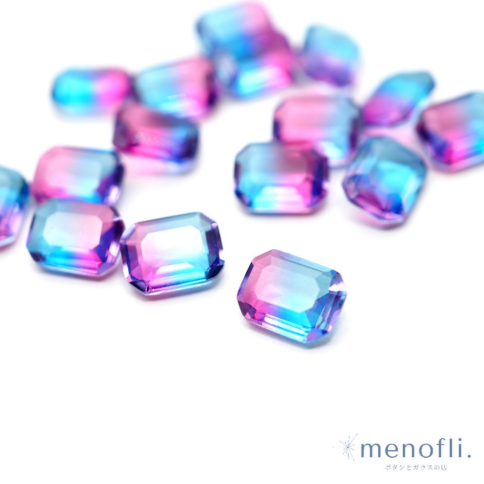 1pc 長方形 グラデーション 青・紫 8*6 チャイナガラス ラインストーン グラスストーン