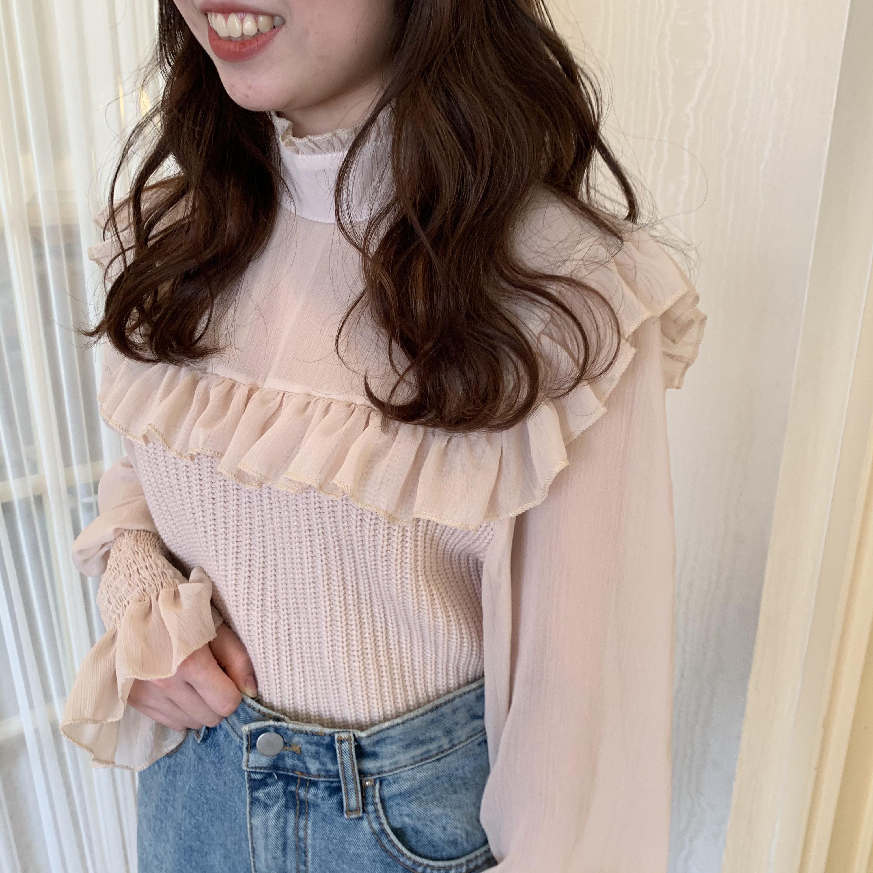 【LAST3】frill chiffon blouse