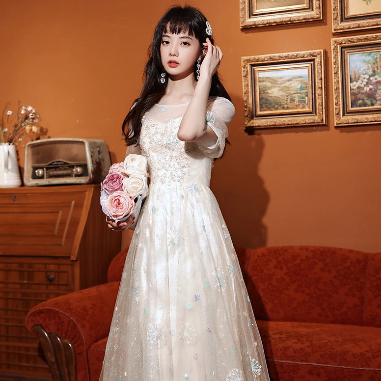 レース 高見え キラキラ 宴会 パーティー ロングドレス 婚活 結婚式 MY2121