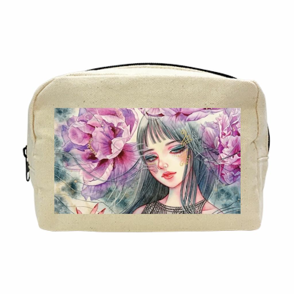 紫牡丹の姫君 キャンバスファスナーポーチ(M)