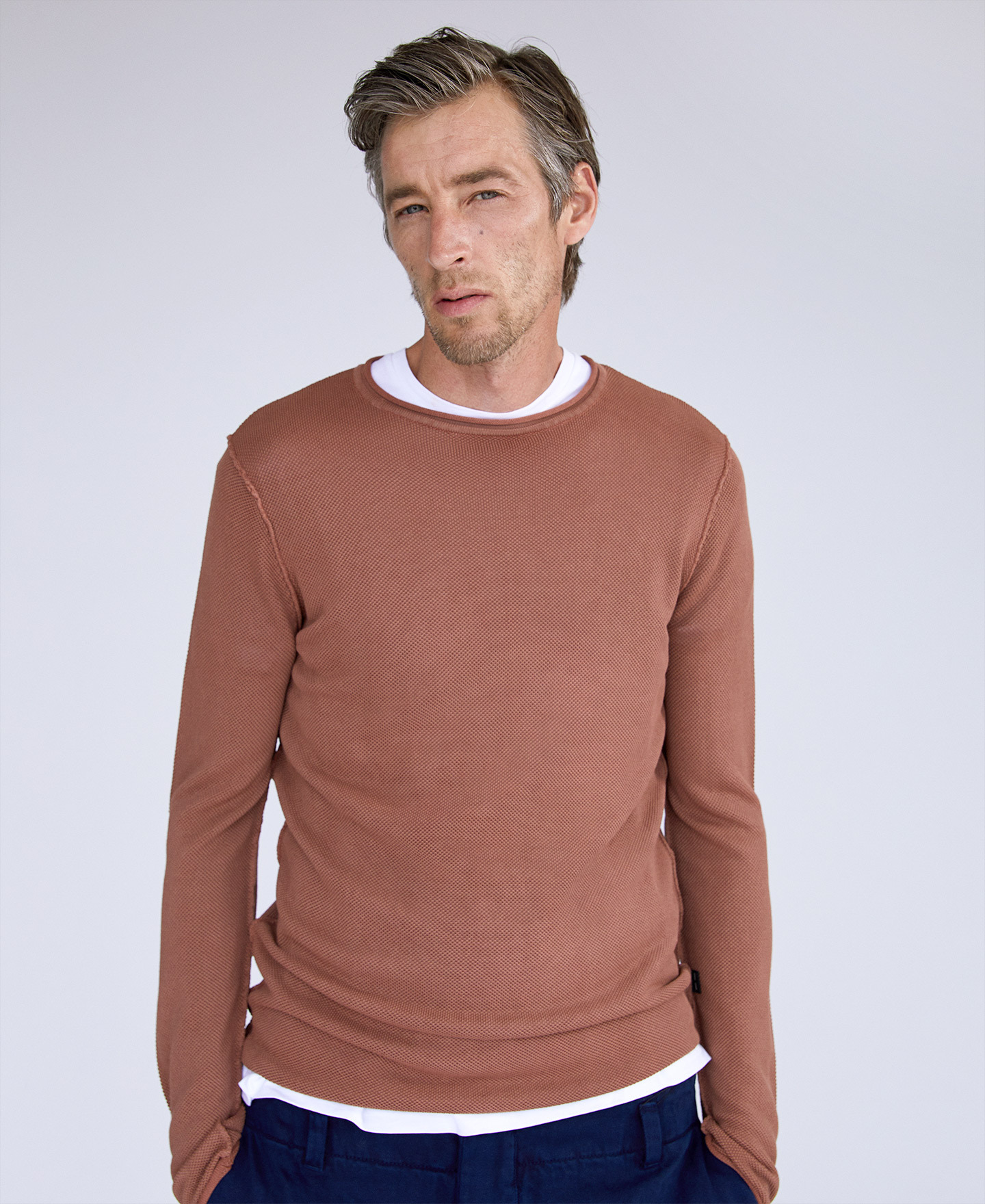 VISCOSE AND COTTON KNITTED T-SHIRT [173581716211]