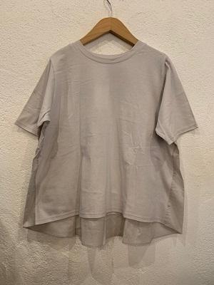 nachukara/切り替え半袖プルオーバー ライトグレー