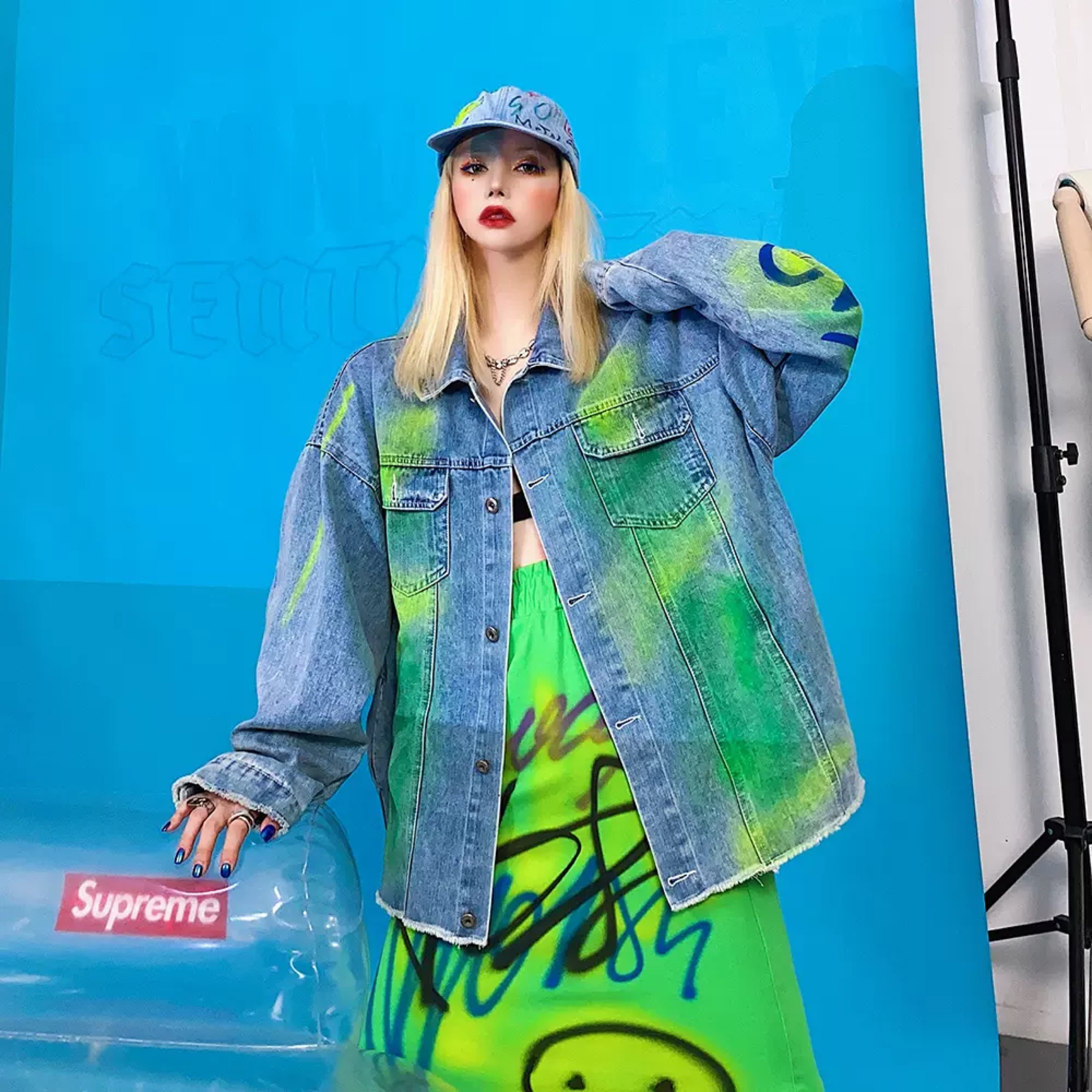 color spray denim jacket