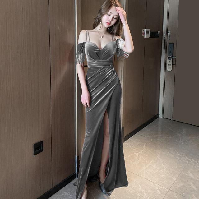 セクシー 高見え タイトドレス 売れっ子 愛用 ロングドレス キャバドレスF2-91882