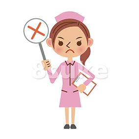 イラスト素材:看護師・ナースの不正解・NGイメージ(ベクター・JPG)