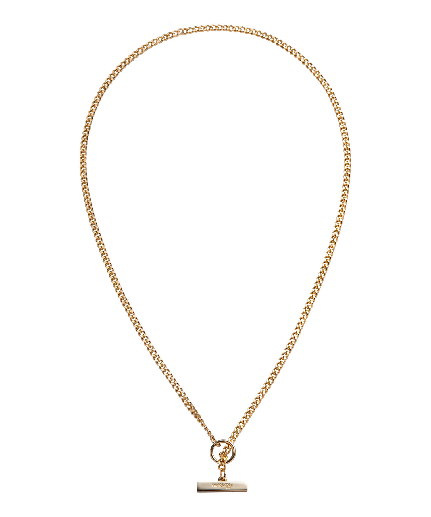 T BAR  FLAT LINK CHAIN NECKLACE-GOLD[REA155]