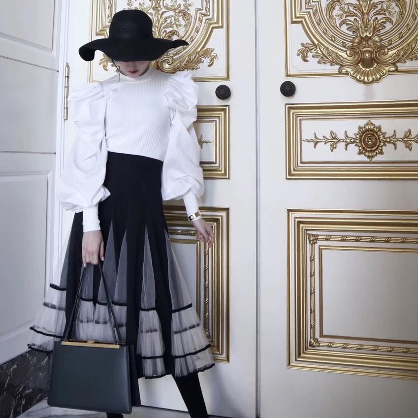 volume frill pleat long skirt