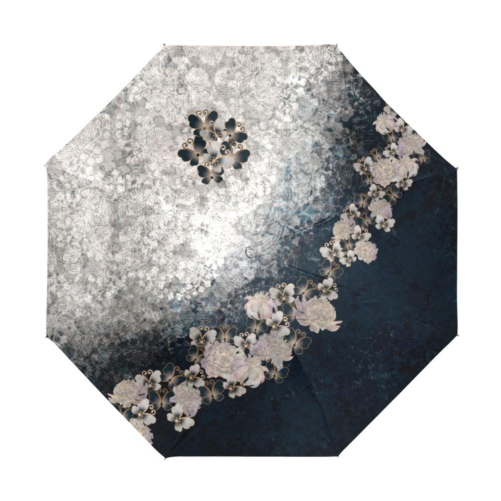 華蝶 ブルーホワイト 折りたたみ日傘