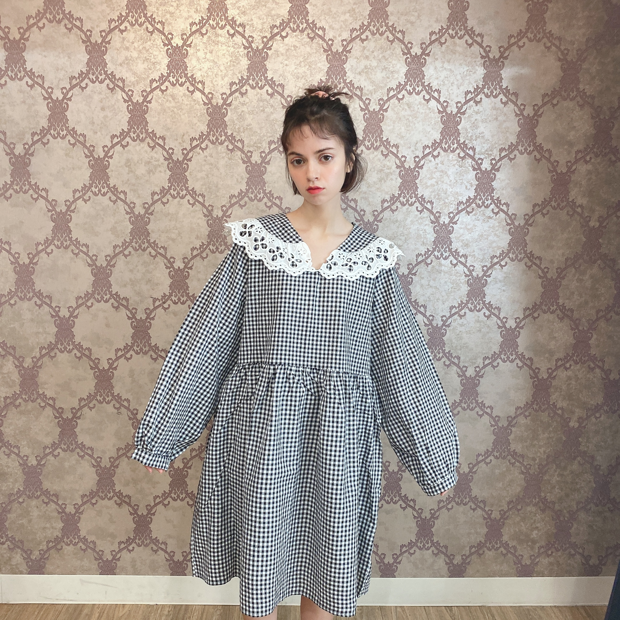 gingham check frill op