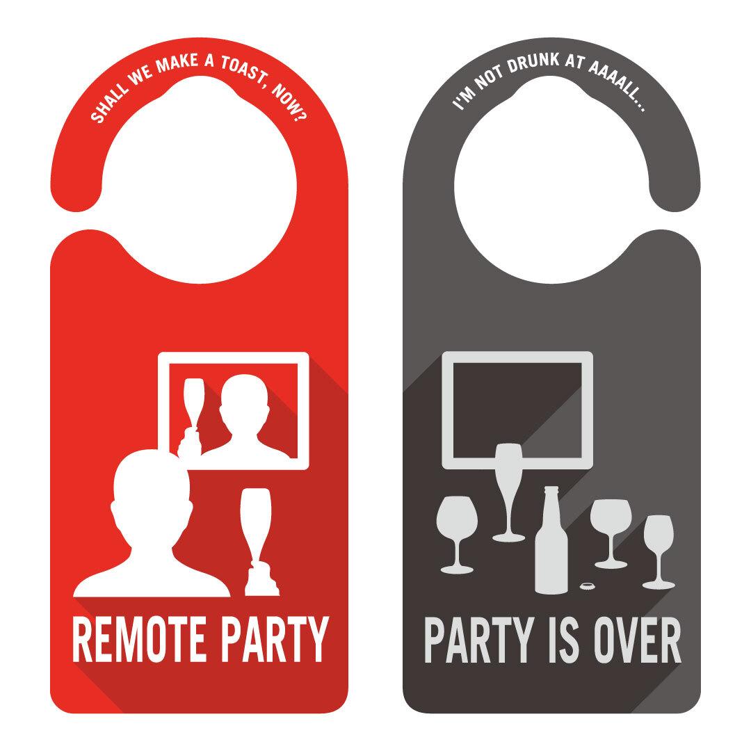REMOTE PARTY(リモートパーティ中)[1035] 【全国送料無料】 ドアサイン ドアノブプレート