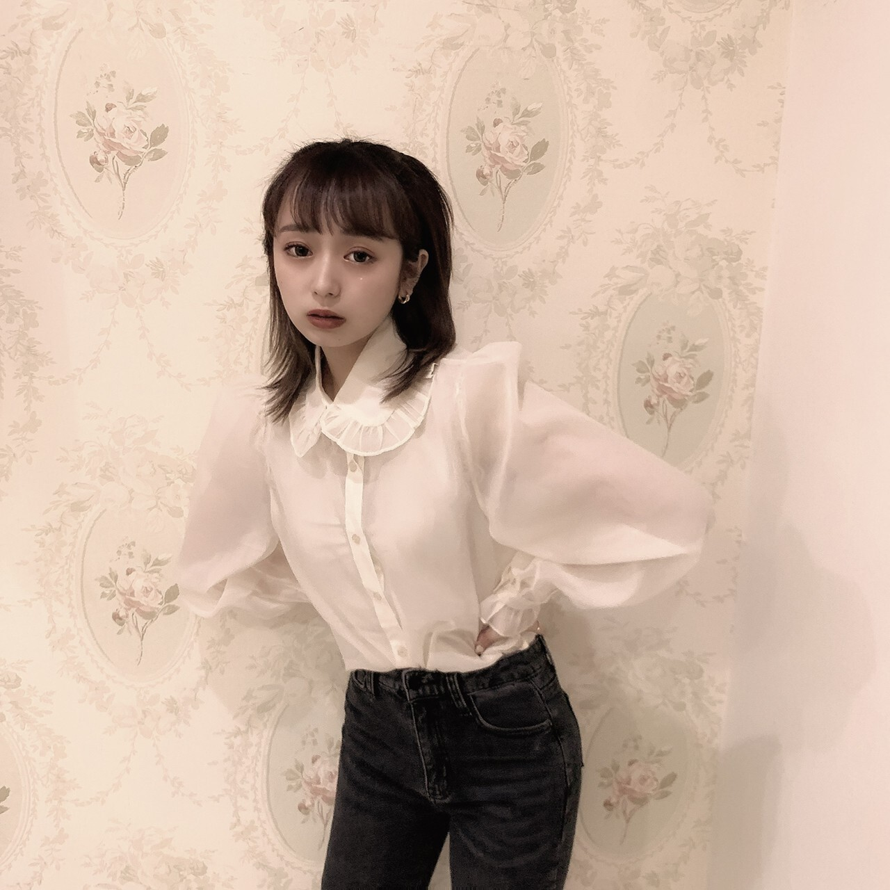 【meltie】sheer latte blouse