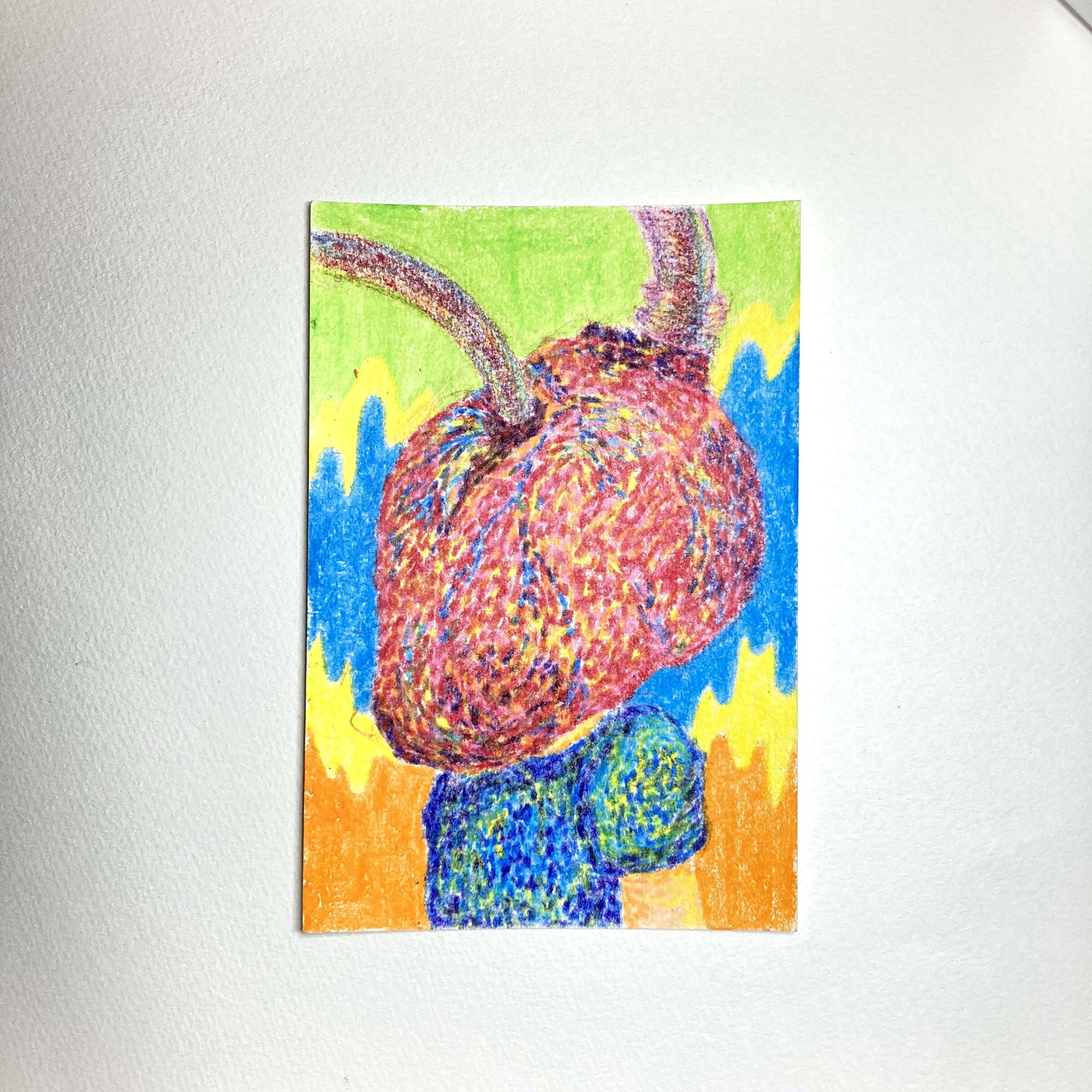 Heart human 8 years old / 100mm×148mm / Crayon / Original Drawing