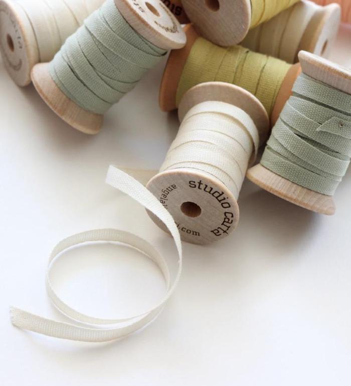 Wood Spool of 5 yards Cotton Ribbons【Studio Carta】/コットンリボン スタジオカルタ