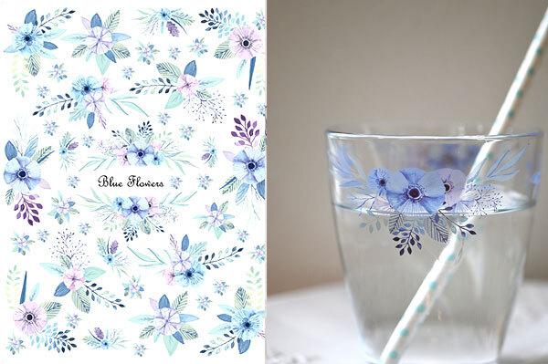 【ガラス用】 水彩 ブルーフラワー BlueFlours A4サイズ(ポーセリンアート用転写紙)
