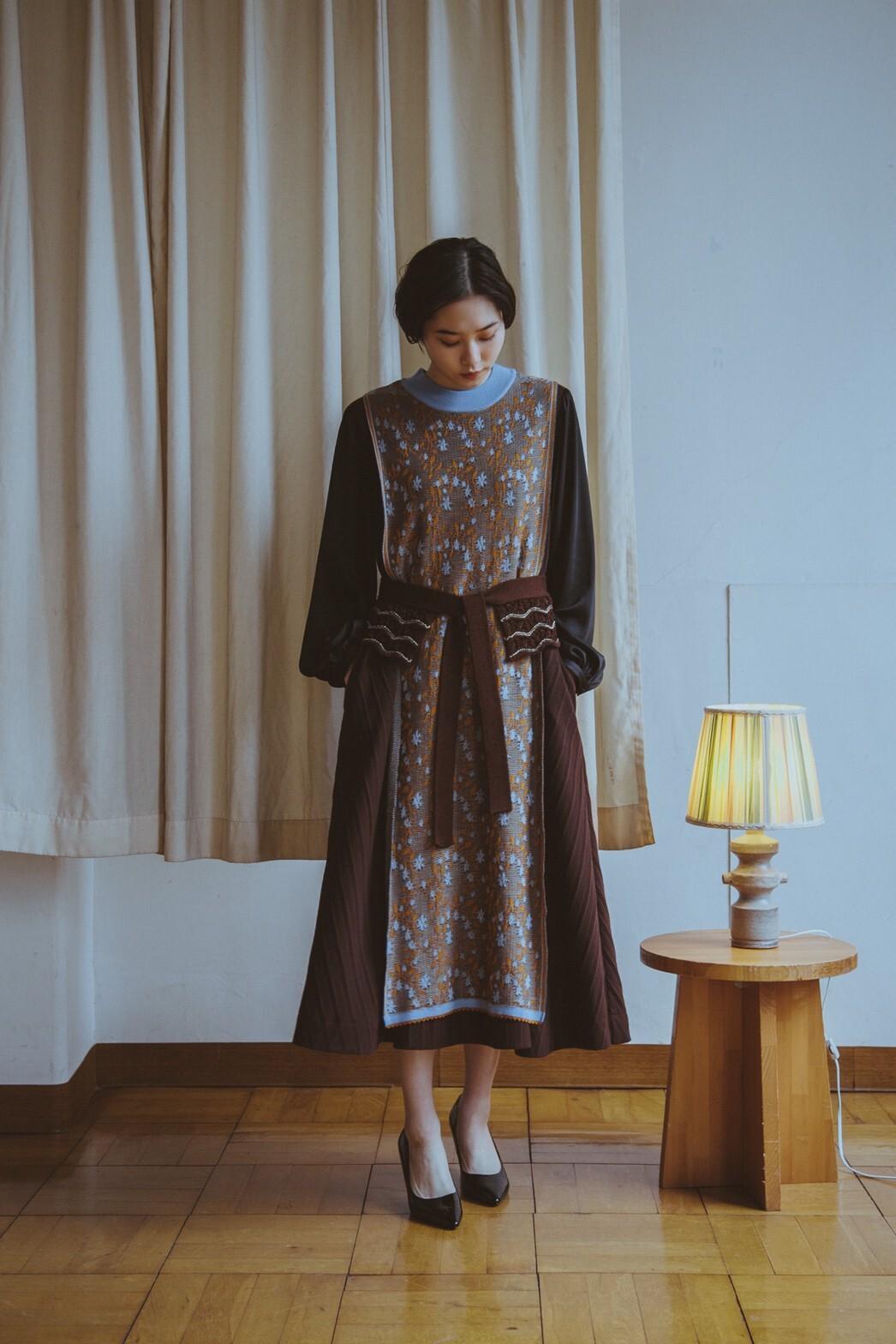 YUKISHIMANE Flower Sparkle Knit vest dress+belt
