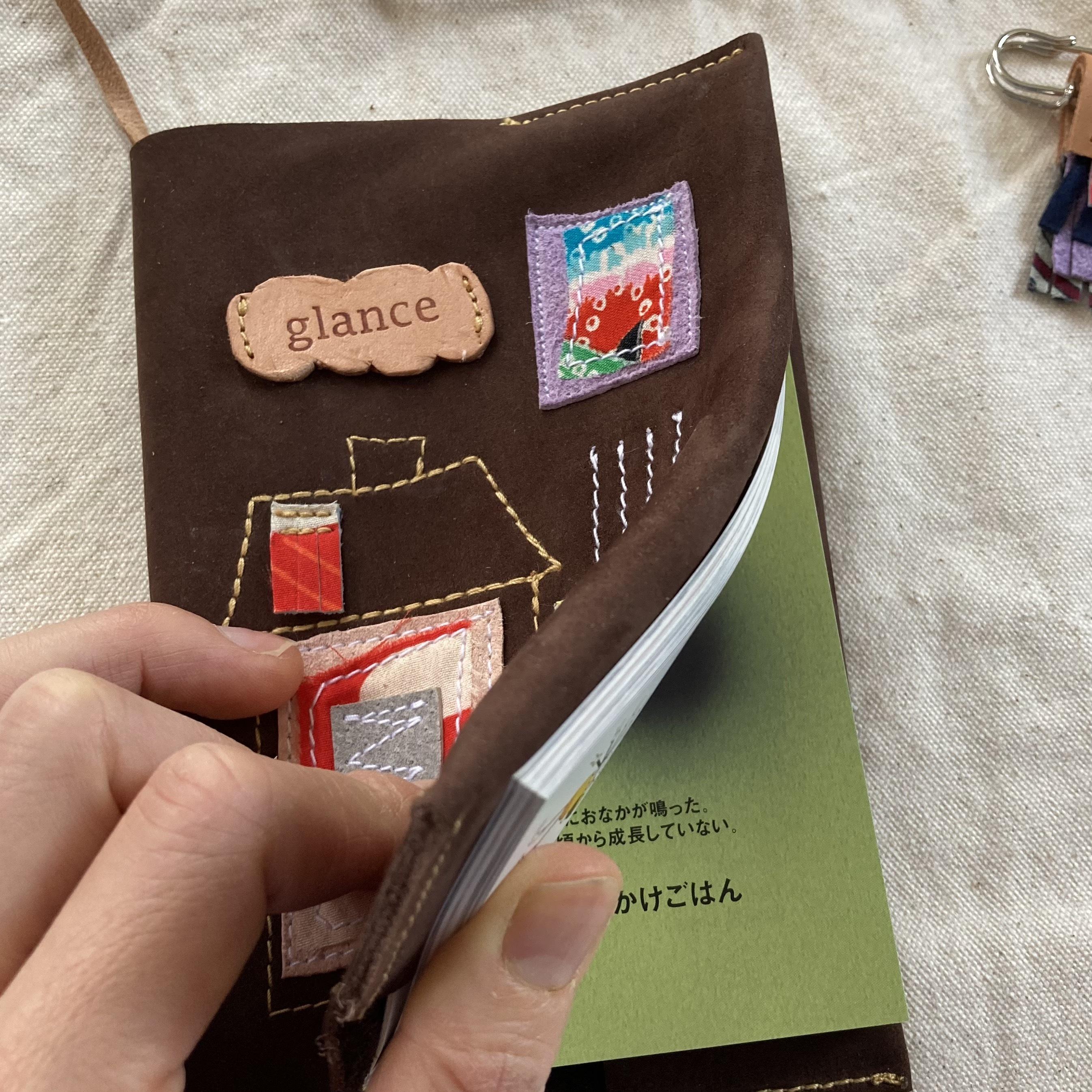 tugihagi ブックカバー 本革と古布 □-5