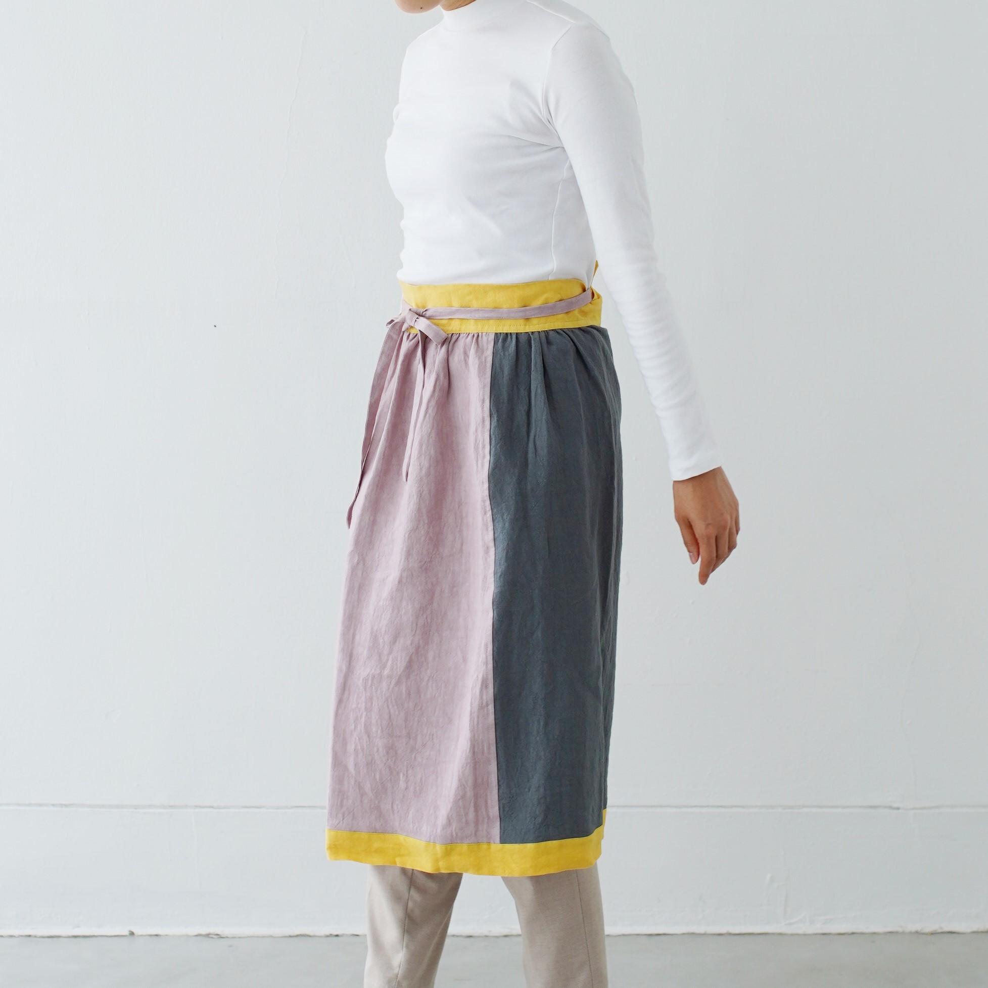 エプロンスカート apron skirt / リネン linen / grayish pink