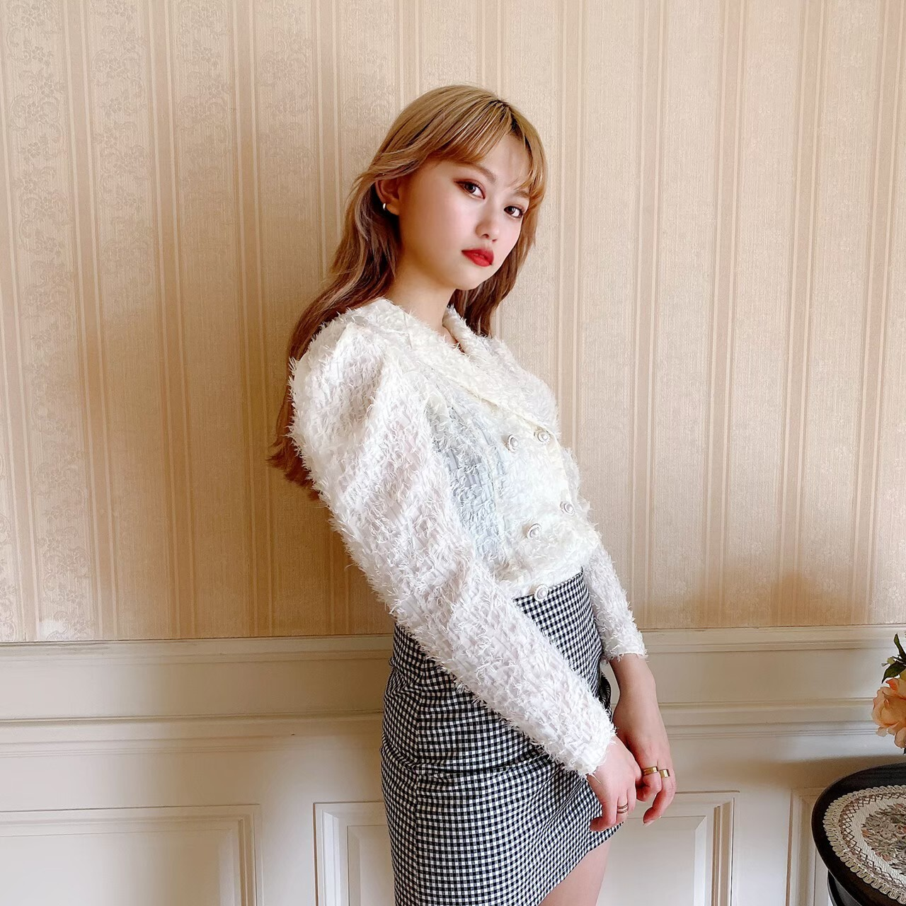 【Belle】pearl button blouse / ivory