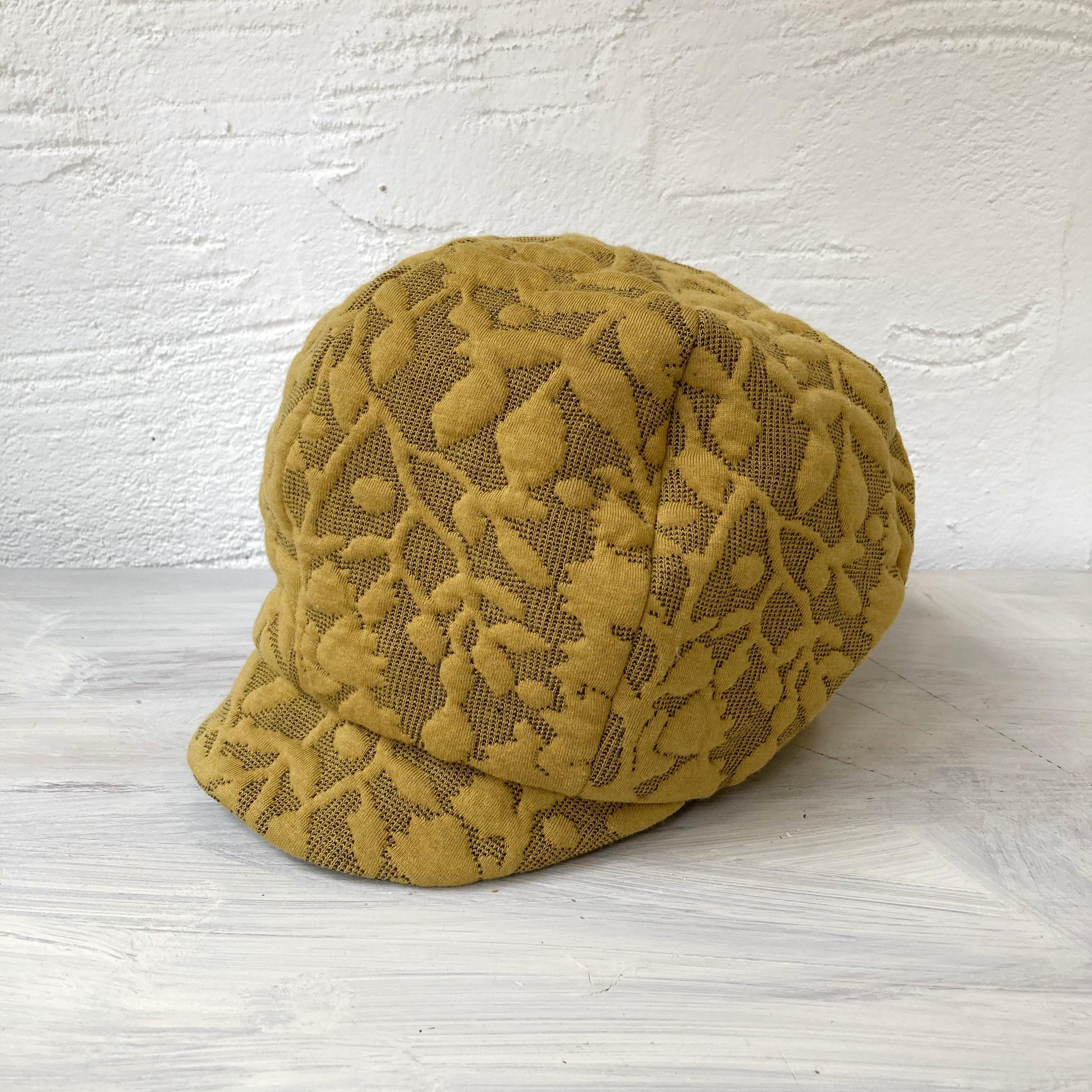 【LuLu de Chapeau】凹凸ニットJQキャスケット帽(イエロー)