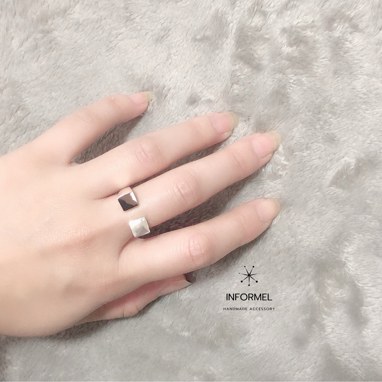 【 silver925 】Square open ring