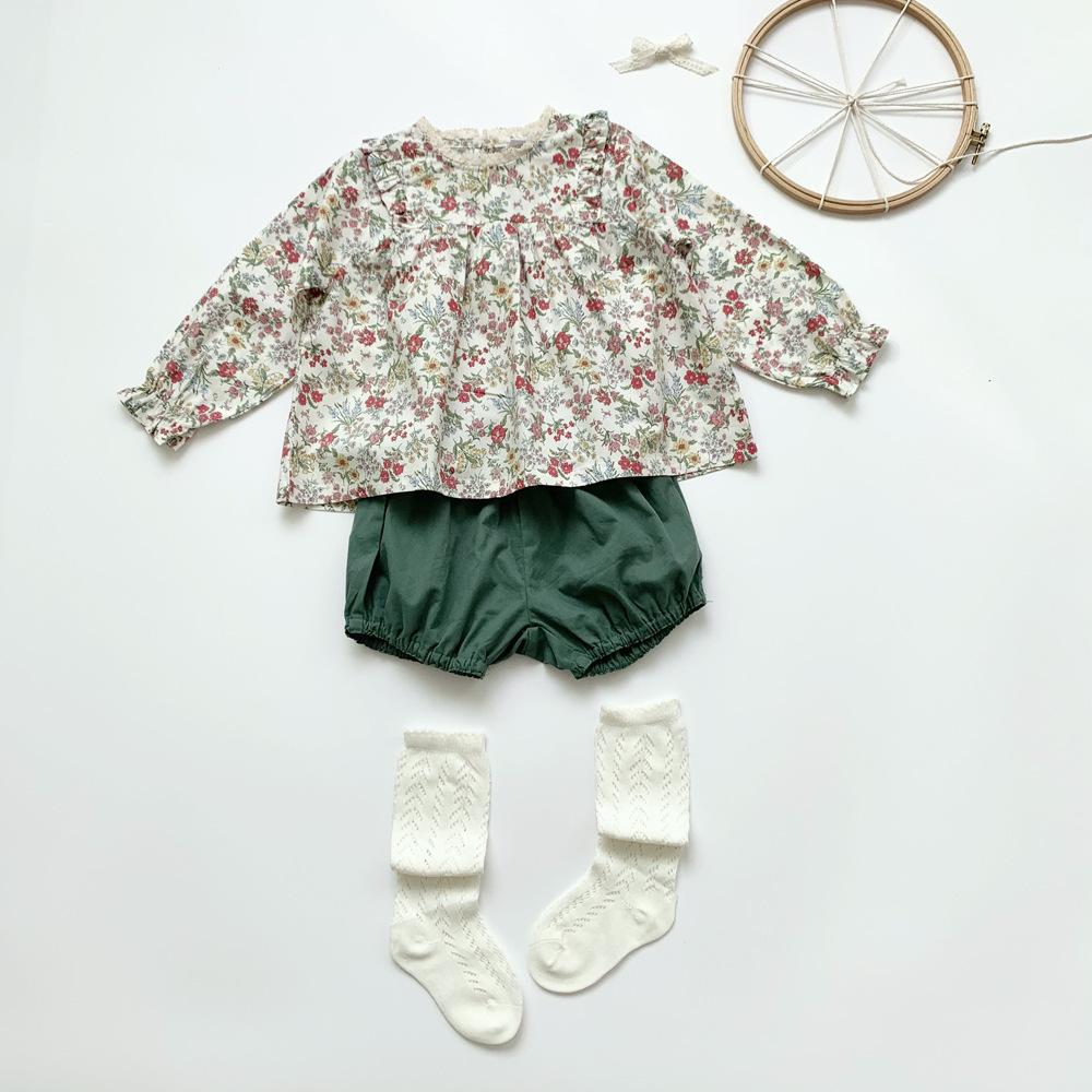 【春物予約・一部即納】小花柄コットンブラウス 2021SS 女の子 シャツ 子供服 春夏