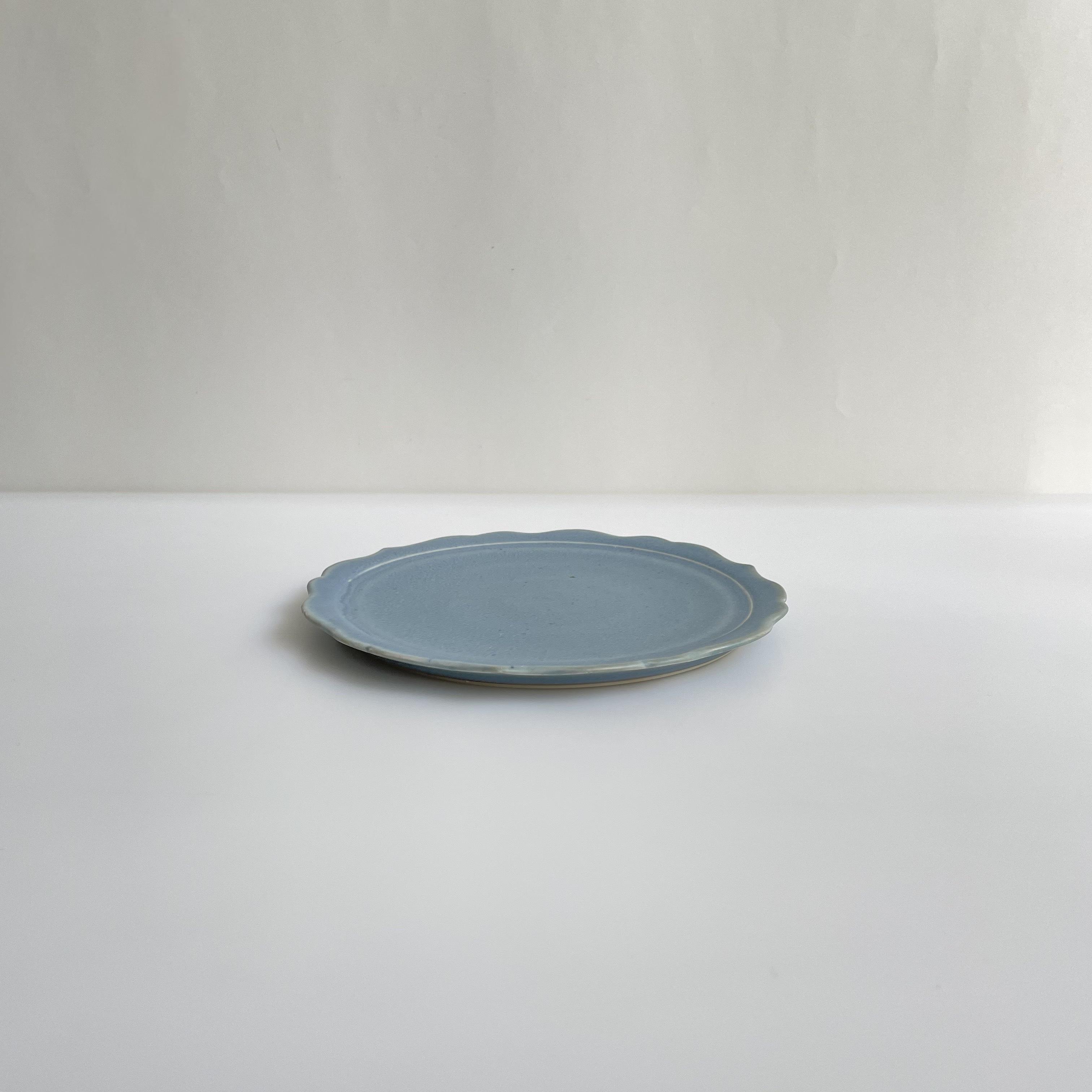 杉原万理江  稜花六寸平皿  水色