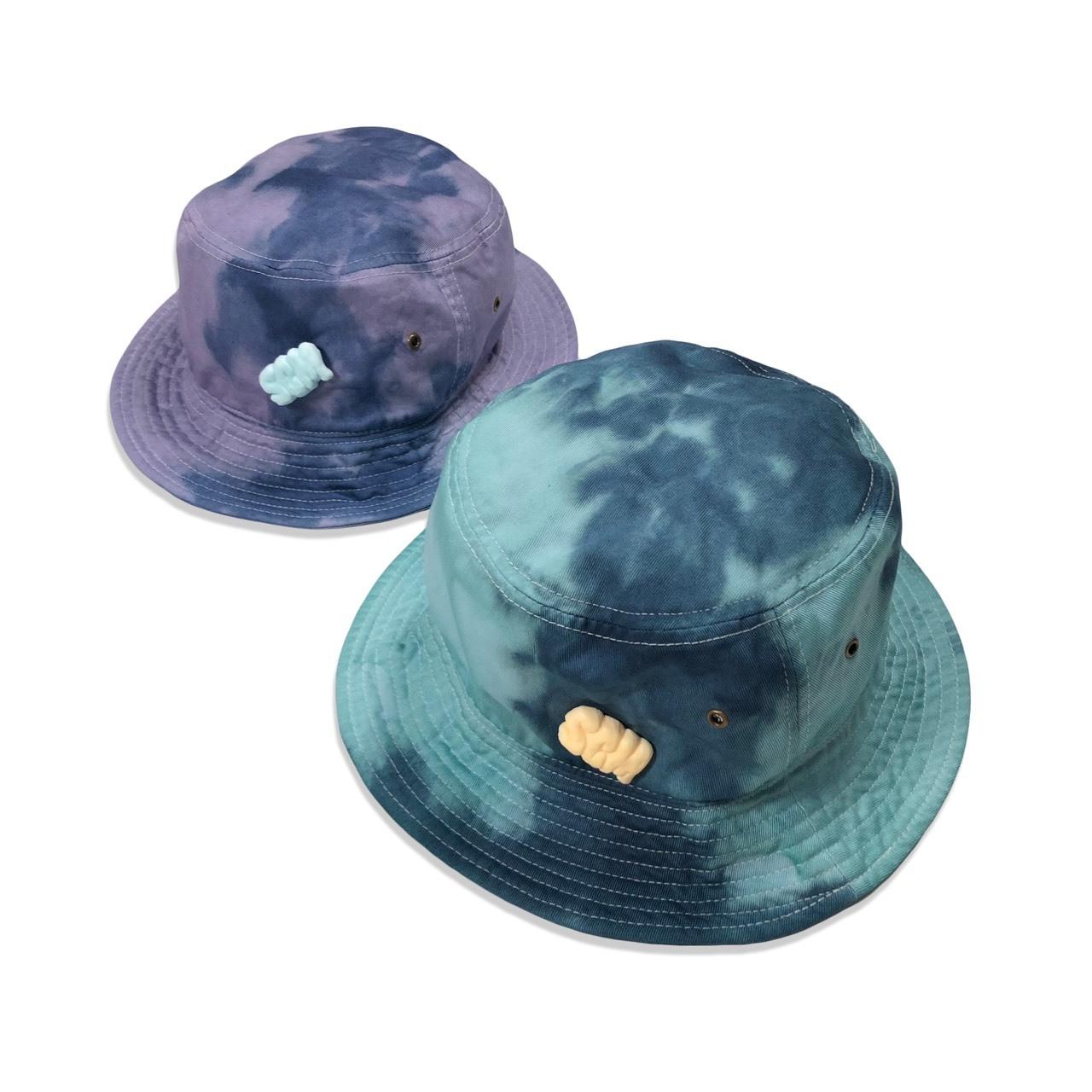 """STASCM """"SCM"""" Tie-dye BUCKET HAT + SCM PINS (GLOW IN THE DARK)"""