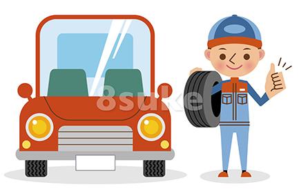 イラスト素材:タイヤを担いでグッドサインをする自動車整備士(ベクター・JPG)
