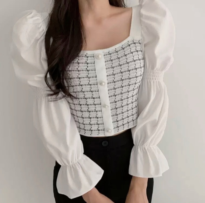 check puff sleeve tops 2color