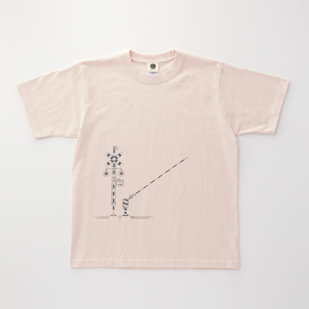 Tシャツ 踏切 ( Baby Pink × Dark Gray )