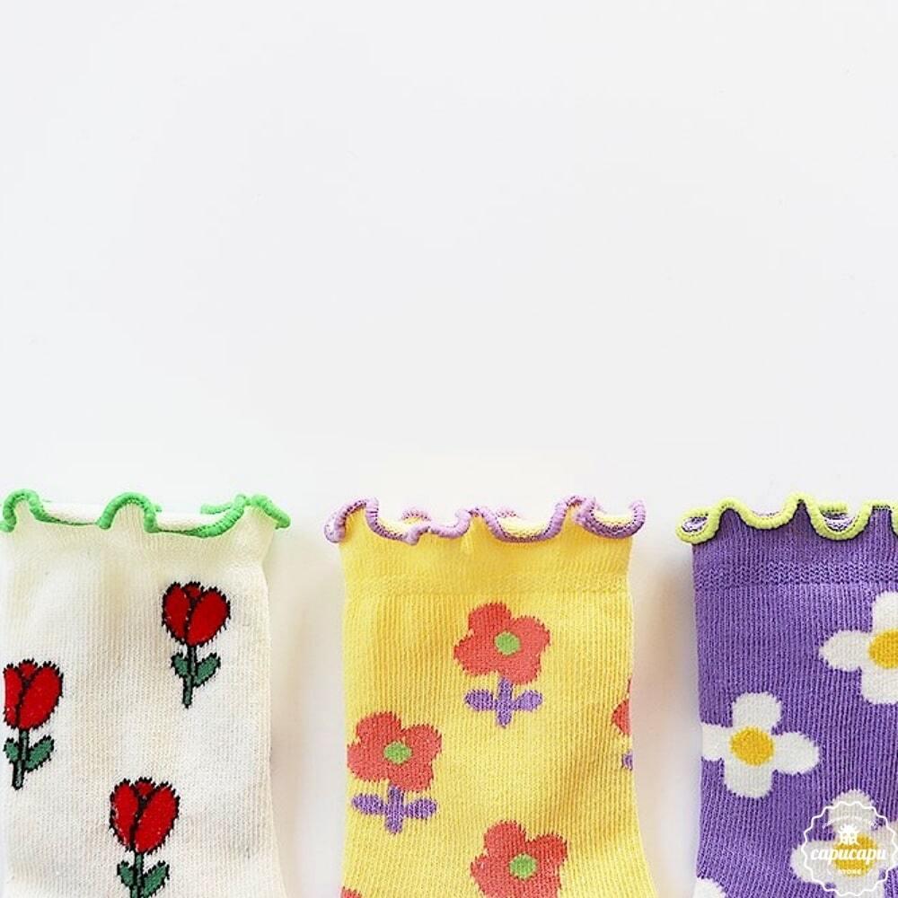 «予約» retro flower socks 3set レトロフラワーソックス