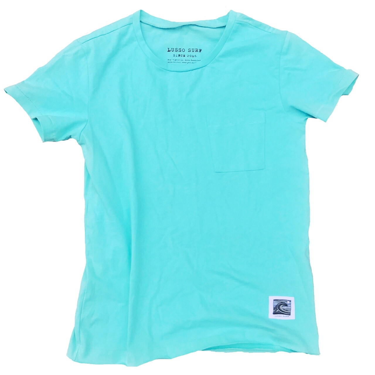 Wave patch Tee【Turquoise blue】
