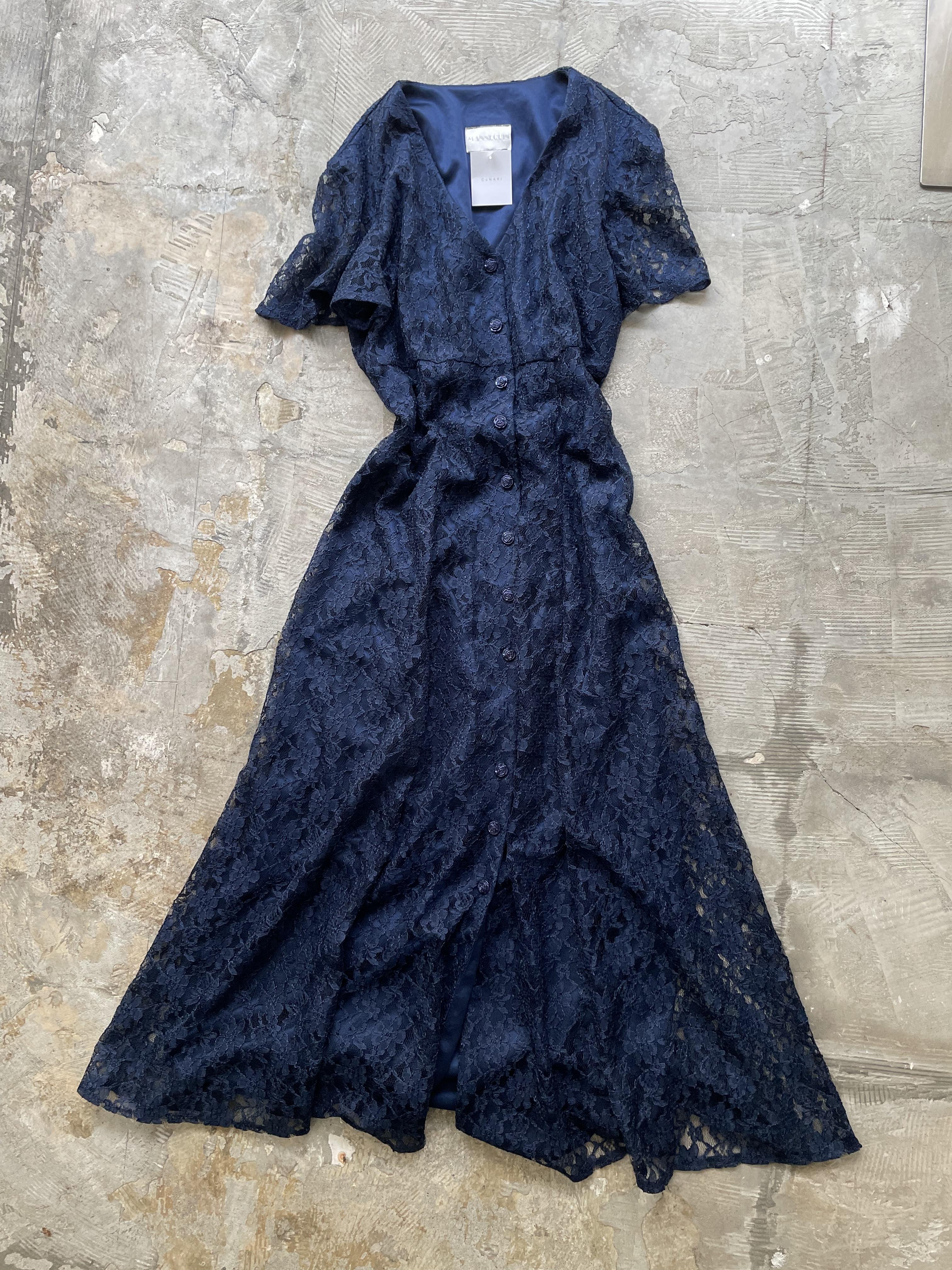 vintage lace dress / navy